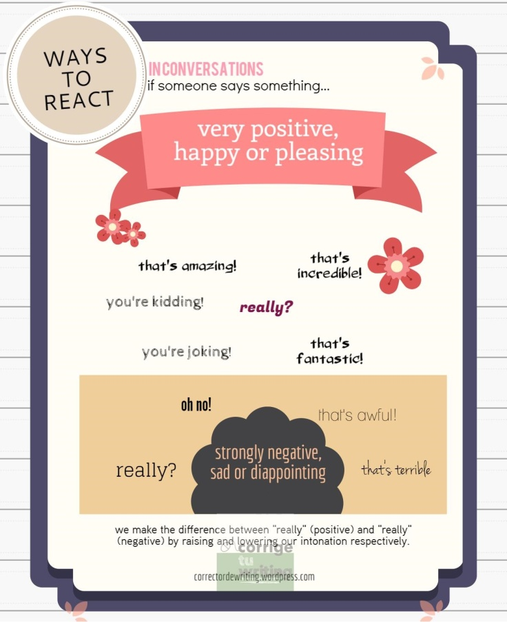 ways to react in conversations speaking